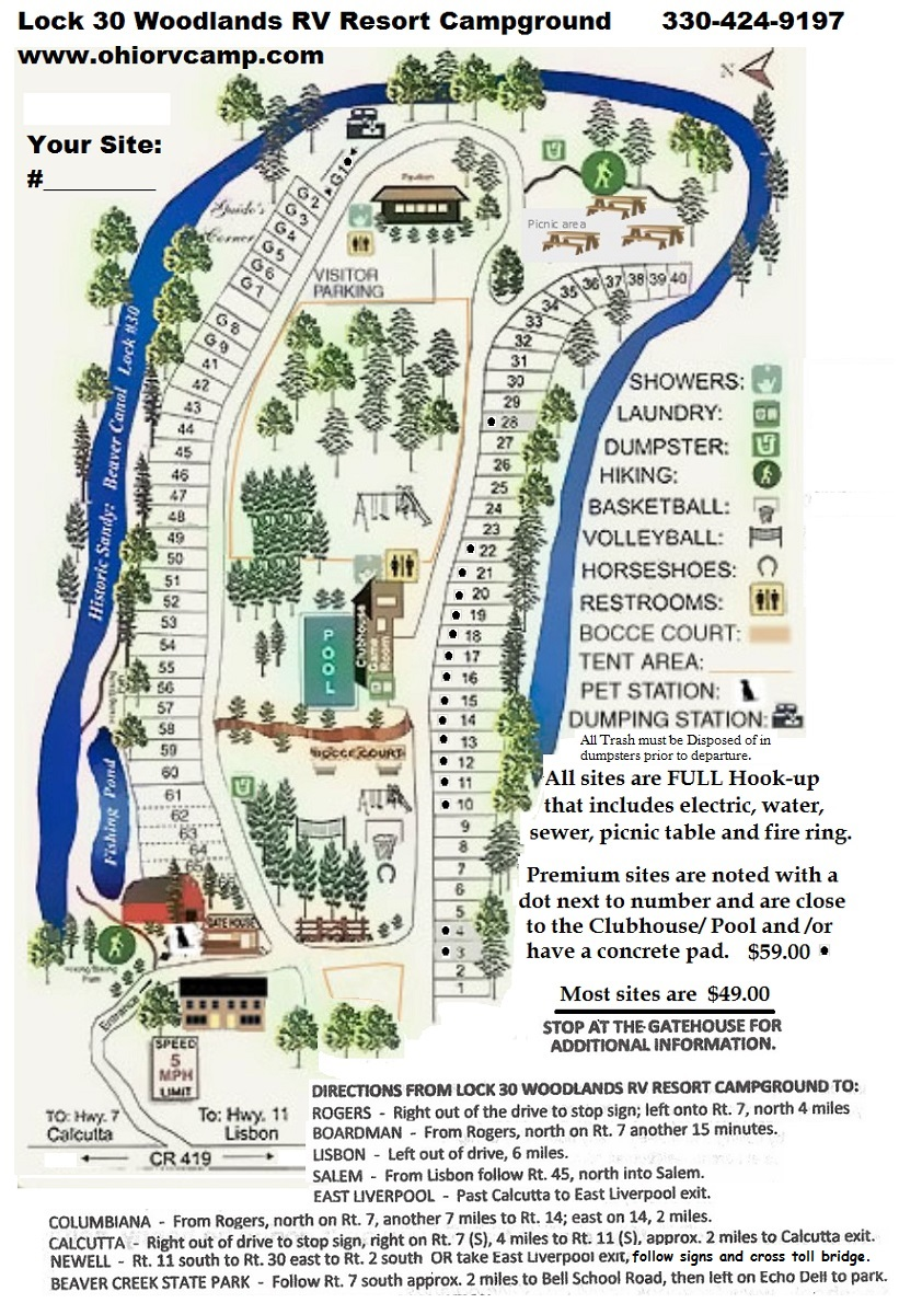 Lock 30 Woodlands RV Camp Campground Map